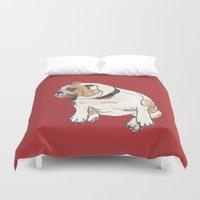 english bulldog Duvet Covers featuring English Bulldog by Tammy Kushnir