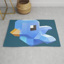Cute low-poly Twitter bird character Rug