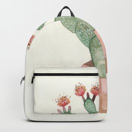 Prickly Pear Succulent Cactus Flower Backpack