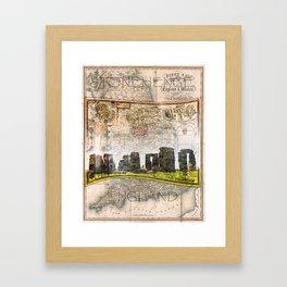 Stonehenge Art Map Framed Art Print