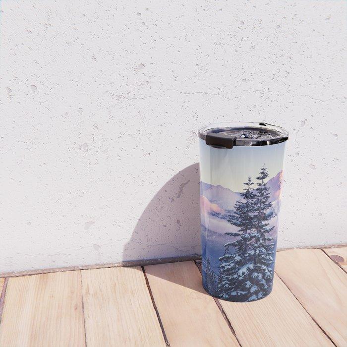 Glorious Beginning sunrise on Mount Shasta Travel Mug