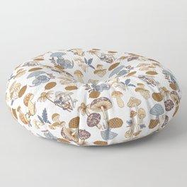 Mushroom Medley in Blue and Rust Floor Pillow