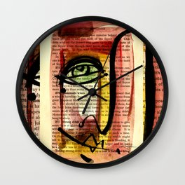 """Funky Face Abstract, """"I See 35"""" by Kathy morton Stanion Wall Clock"""