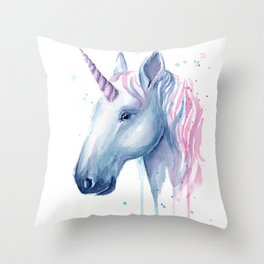 Blue Pink Unicorn Throw Pillow