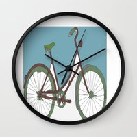 bicycle Wall Clocks featuring Bicycle by March Hunger