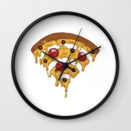 Pizza Wi Fi Thread Pizza WI Fi Slice Pepperoni Graphic Women's Cotton T-Shirt Wall Clock