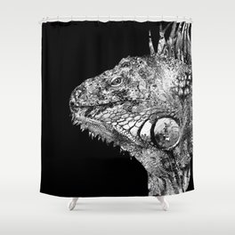Black And White Iguana Art - One Cool Dude 2 - Sharon Cummings Shower Curtain