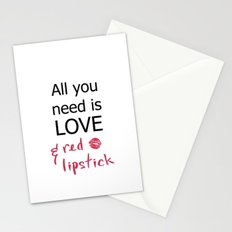 All you need is LOVE & red lipstick Stationery Cards