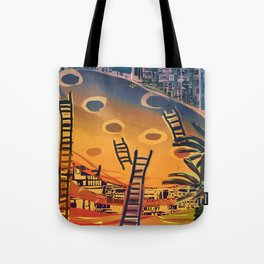 Time through Time, from Caves to Skyscraper, from Organic to Geometric Tote Bag