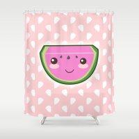 kawaii Shower Curtains featuring Kawaii Watermelon by Pati Designs
