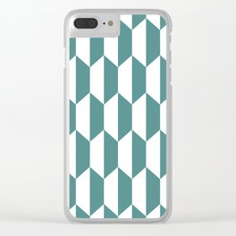 Classic Trapezoid Pattern 239 Teal Clear iPhone Case