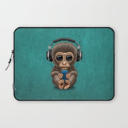 Cute Baby Monkey With Cell Phone Wearing Headphones Blue Laptop Sleeve