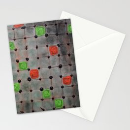 Grid with Green and Orange Highlights Stationery Cards