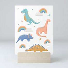 Dinosaurs + Rainbows in Blush Pink + Gold + Blue Mini Art Print