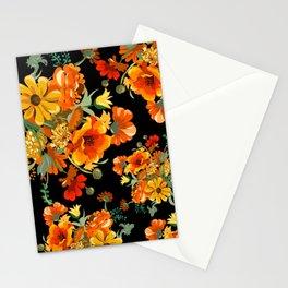Orange flower bunch 70s mid century Stationery Cards