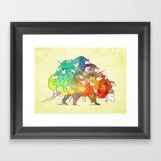 Opossum Rainbow Babies Framed Art Print