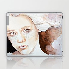 A windy moment, emotional watercolor portraiture Laptop & iPad Skin