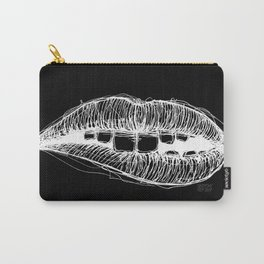 Sketchy Lips (White on Black) Carry-All Pouch