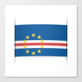 Flag of Cape Verde, officially the Republic of Cabo Verde. The slit in the paper with shadows. Canvas Print