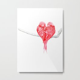 Red Heart Birds Love Metal Print