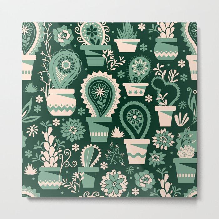 Paisley succulents Metal Print