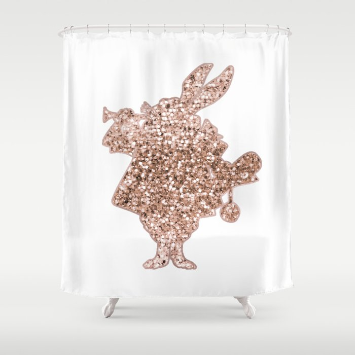 Sparkling Rose Gold Mr Rabbit Shower Curtain By Roseaesthetic