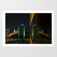 seoul Art Prints featuring Seoul Reflection by Anthony M. Davis