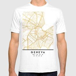 GENEVA SWITZERLAND CITY STREET MAP ART T-shirt