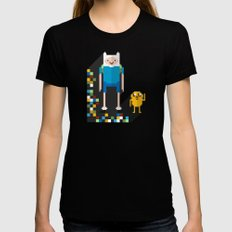 finn the pixel Womens Fitted Tee Black SMALL