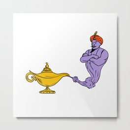 Genie Coming Out of Golden Oil Lamp Drawing Color Metal Print