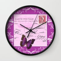 postcard Wall Clocks featuring Pink postcard by Marion de Lauzun