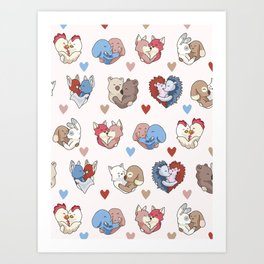 Vector cute animal hug hearts Art Print