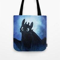 toothless Tote Bags featuring Toothless by Liancary