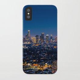 Los Angeles, California, I love LA Downtown Skyline, Golden lights, USA Sunset Blvd, Palms, Cali Map iPhone Case