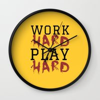 die hard Wall Clocks featuring HARD by Free Specie