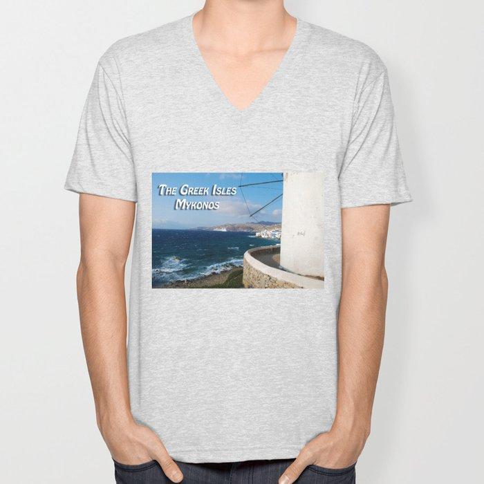 The Greek Isles - Mykonos Greece Unisex V-Neck