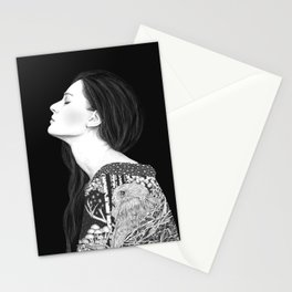Forest and night in black & white Stationery Cards