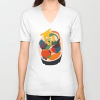 wooden V-neck T-shirts featuring Fruits in wooden bowl by Picomodi