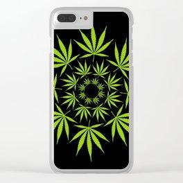 Cannabis Leaf Circle (Black) Clear iPhone Case