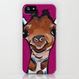 Giraffe Painting, Pink Giraffe, Safari Art iPhone Case