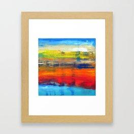 Horizon Blue Orange Red Abstract Art Framed Art Print