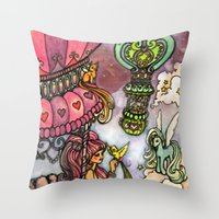80s Throw Pillows featuring 80s dreamscape by Charlie L'amour