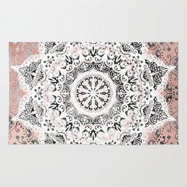 Dreamer Mandala White On Rose Gold Rug