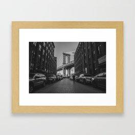 New York City Bridge (Black and White) Framed Art Print