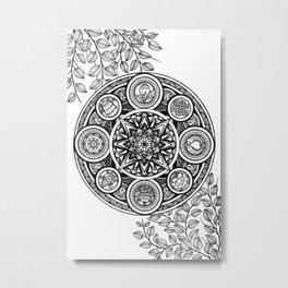 Ashtamangala Mandala Ink Art Black and White Metal Print