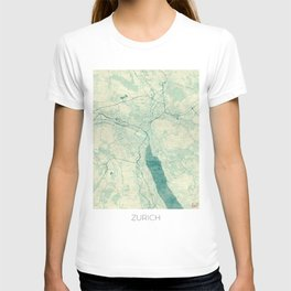 Zurich Map Blue Vintage T-shirt