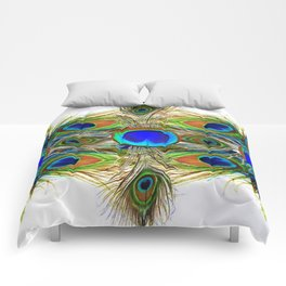 AWESOME BLUE-GREEN PEACOCK FEATHERS ART Comforters