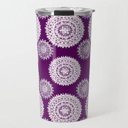 Deep Plum and Silver Patterned Mandalas Travel Mug