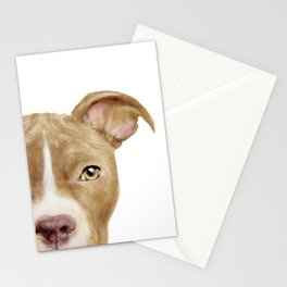 Pitbull light brown Dog illustration original painting print Stationery Cards