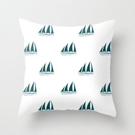 Teal Blue Sailboat Pattern Throw Pillow